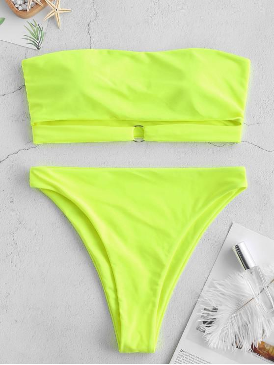 fancy ZAFUL Ring Strappy Bandeau Bikini Set - TEA GREEN L
