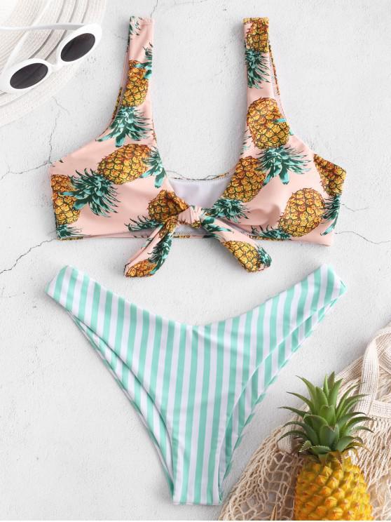 fashion ZAFUL Pineapple Striped Tied Tank Bikini Set - MULTI-A S