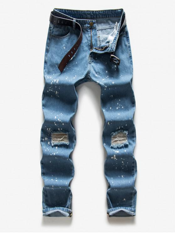 Salpicaduras de pintura largas rectas pantalones rotos - Celeste S