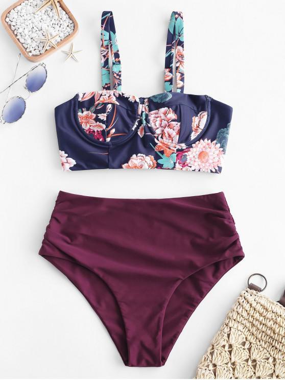 fashion ZAFUL Floral Underwire Lace Up Blouson Tankini Set - MULTI-A XL