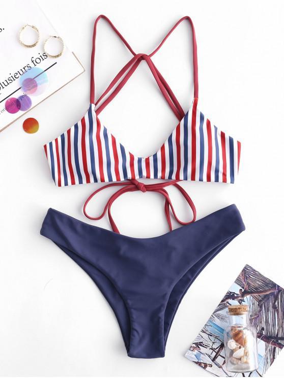 ladies ZAFUL Striped Strappy Bikini Set - MULTI-A M