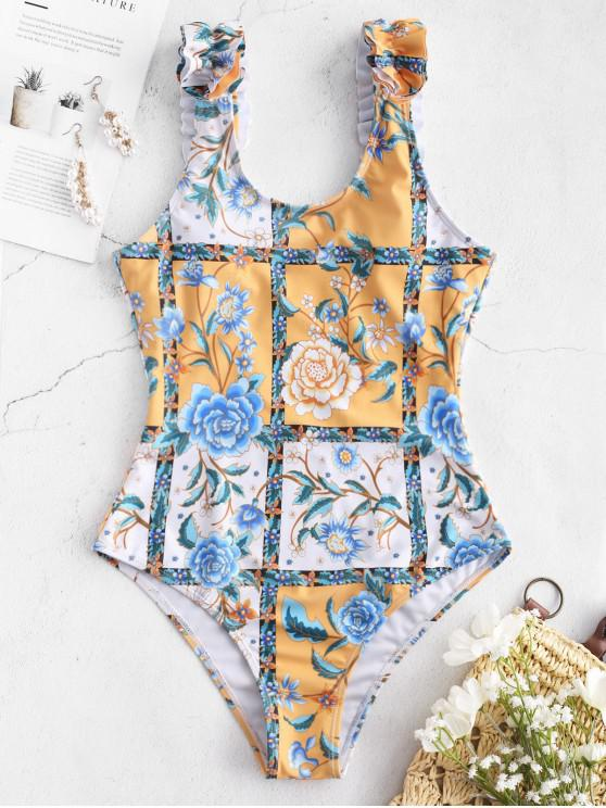 outfits ZAFUL Flower Plaid Ruffle Backless Swimsuit - MULTI-A S