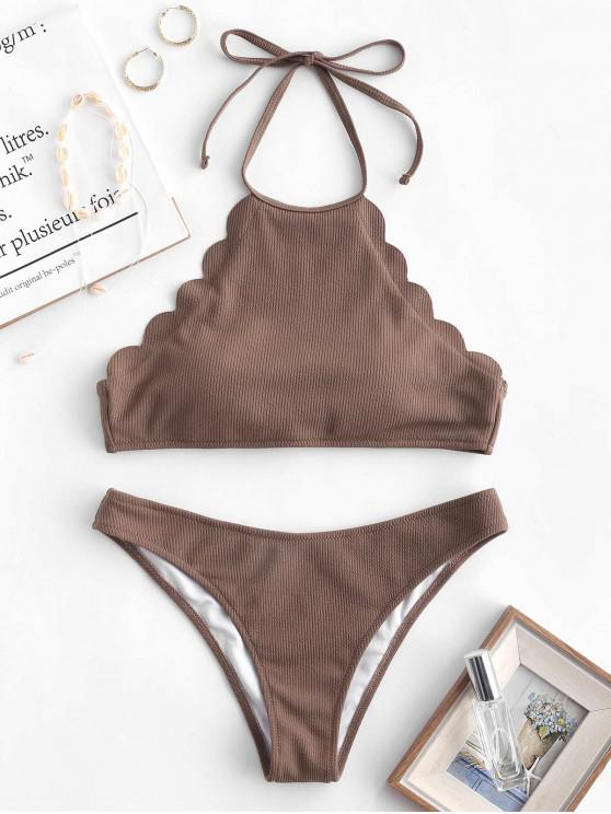 ladies ZAFUL Ribbed Scalloped Halter Bikini Set - PUCE L