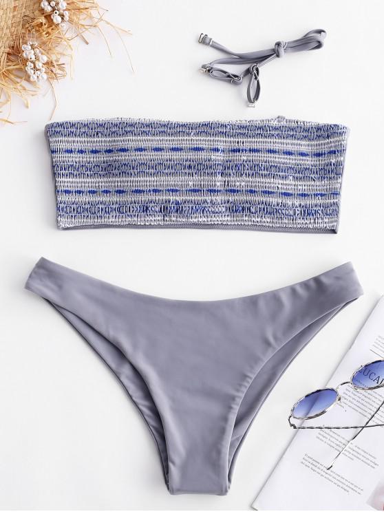 online ZAFUL Geometric Smocked Bikini Set - MULTI-A S