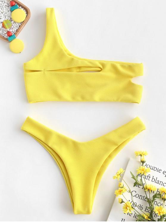 78a17dec1a9 18% OFF] [POPULAR] 2019 ZAFUL Texture One Shoulder Cut Out Bikini ...