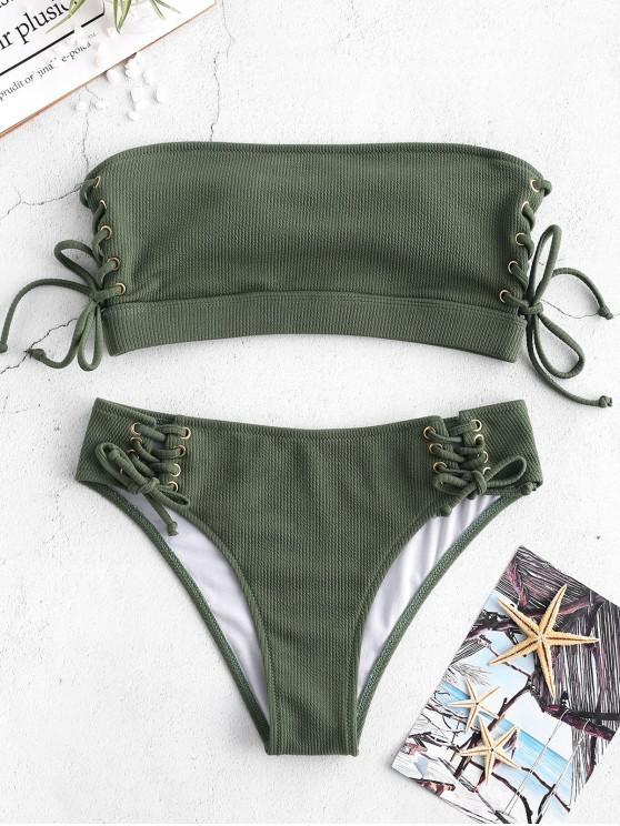 chic ZAFUL Ribbed Lace Up Bandeau Bikini Set - JUNGLE GREEN L