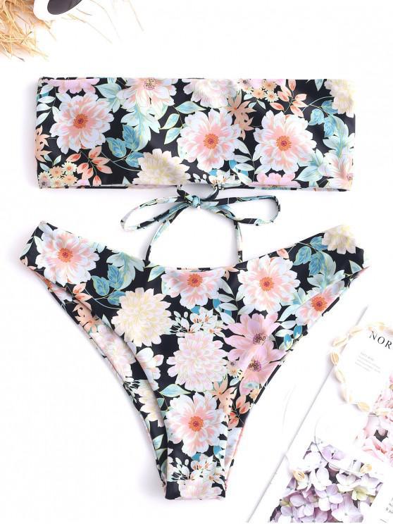 ladies ZAFUL Strapless Flower Lace Up Bikini Set - MULTI-A M