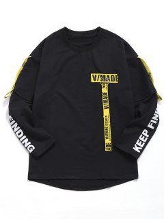 Gewebte Crop T-Shirt Mit Gürtel - Schwarz M