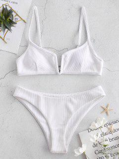 ZAFUL Ribbed V Wired Cami Bikini Set - White S