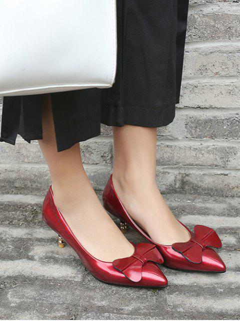 4e0bfed5582 ... outfits Bowknot Design Kitten Heel Pumps - RED EU 43 Mobile ...