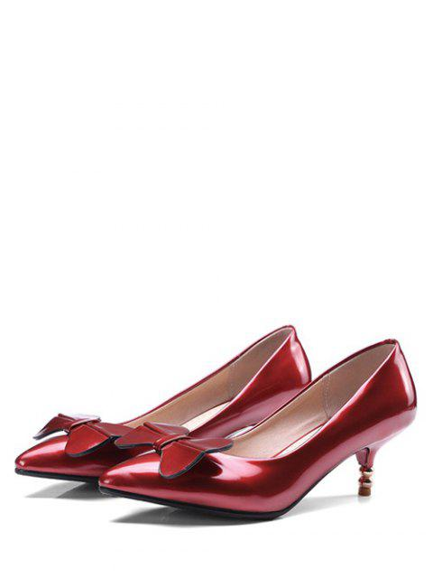 038ab02a8ab ... outfits Bowknot Design Kitten Heel Pumps - RED EU 43 Mobile