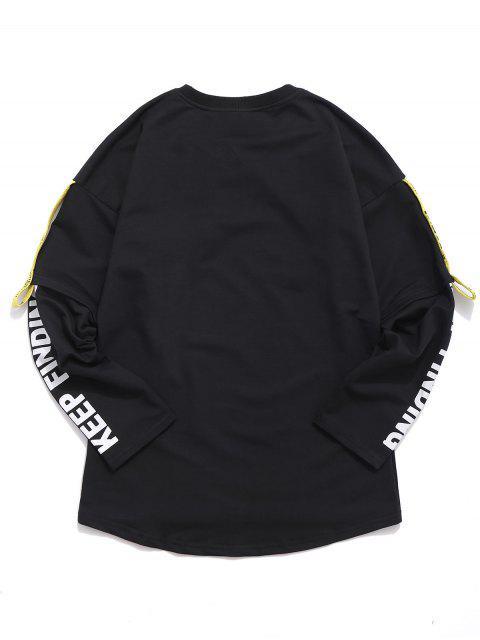 Woven Belt Decoration Patchwork T-shirt - Negro L Mobile