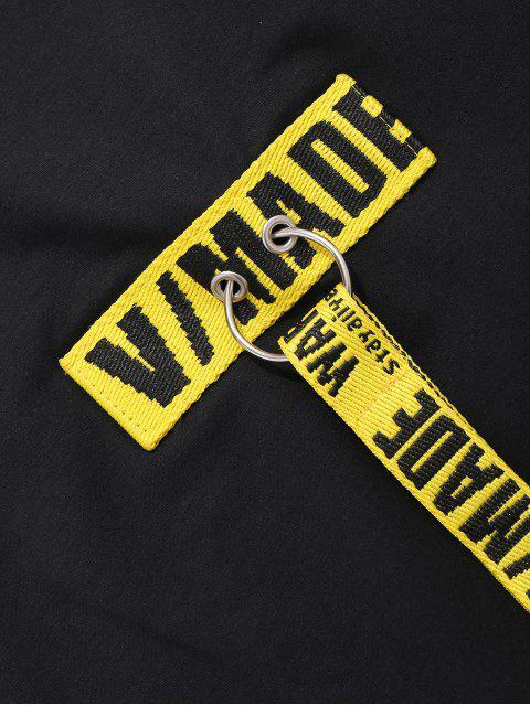 Woven Belt Decoration Patchwork T-shirt - Negro XL Mobile