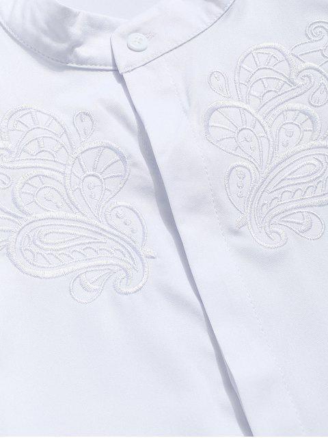 Camisa ocultada botón bordado floral del vintage - Blanco 2XL Mobile