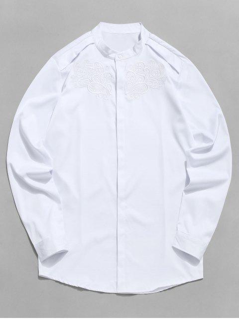 Chemise Vintage Fleuri Brodée avec Bouton Caché - Blanc 2XL Mobile