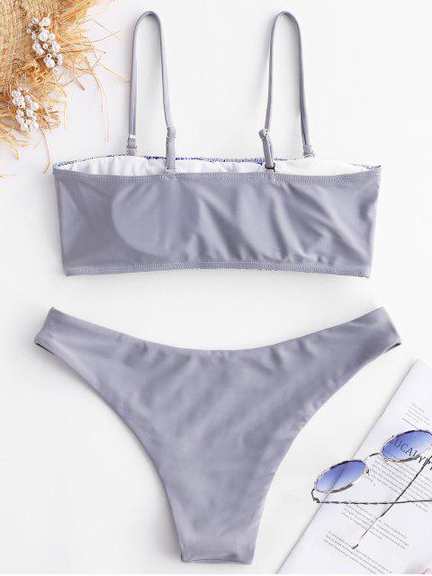 online ZAFUL Geometric Smocked Bikini Set - MULTI-A S Mobile