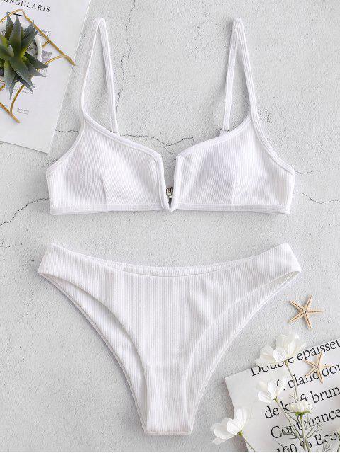 lady ZAFUL Ribbed V Wired Cami Bikini Set - WHITE S Mobile