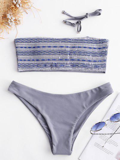 ZAFUL Geometric Smocked Bikini Set - Multi-a M