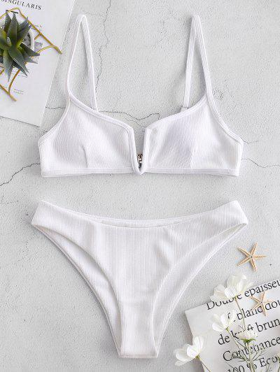 4e9e46a356767 ZAFUL Ribbed V Wired Cami Bikini Set - White M Flash sale HOT