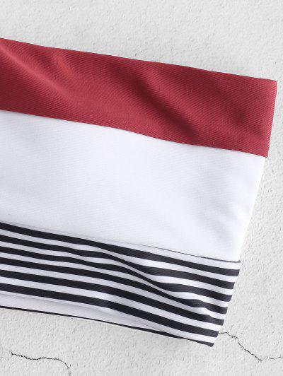 ZAFUL Striped Lace Up Bandeau Bikini Set, Multi-a