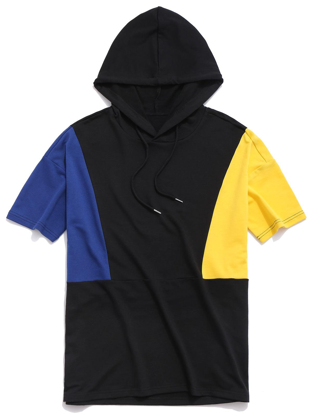Panel Short Sleeve Hooded Top фото