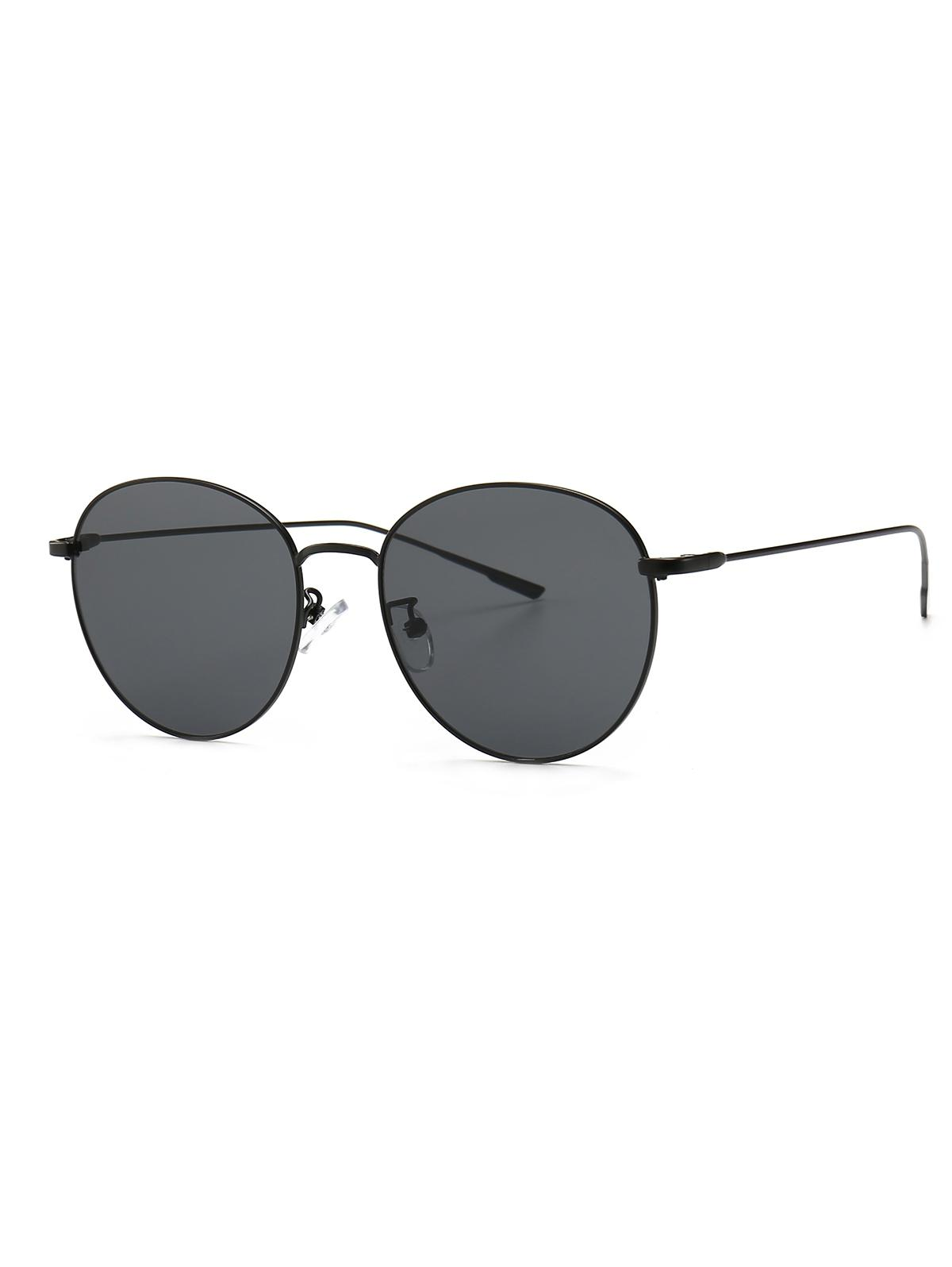 Round Metal Frame Sunglasses, Black