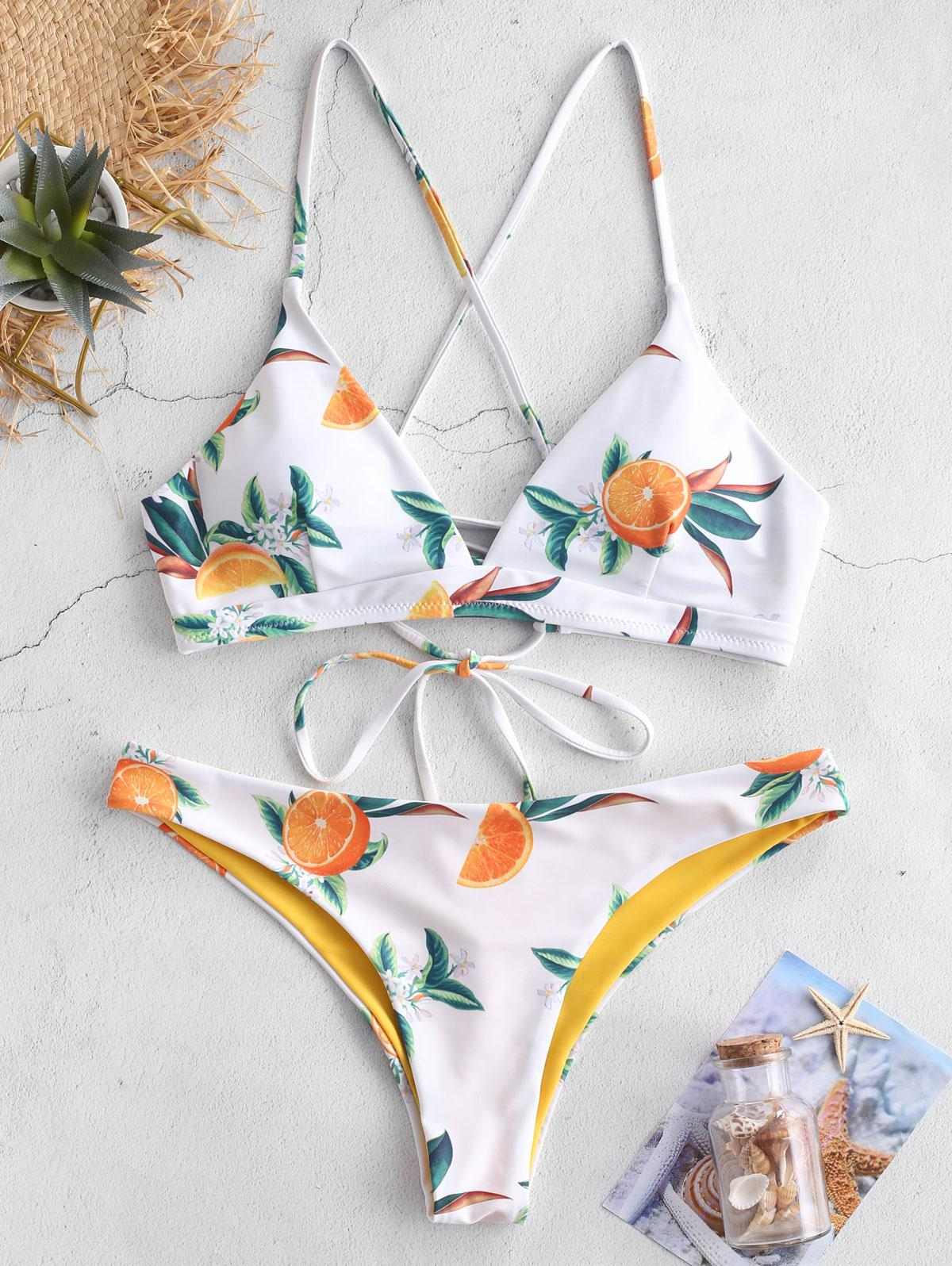 ZAFUL Orange Print Criss Cross Bikini Set, White