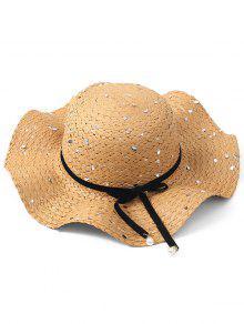 BOWKNOT الترتر قبعة من القش - ضوء الكاكي