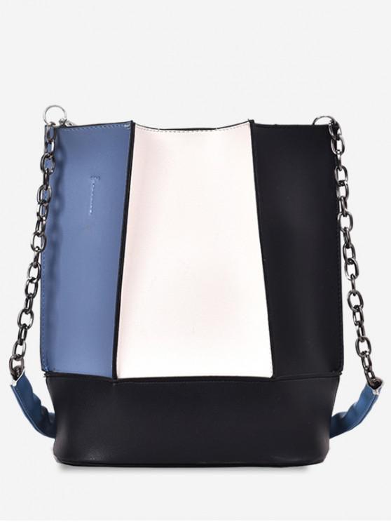 women's Color Block Large Capacity Shoulder Bag - BLACK
