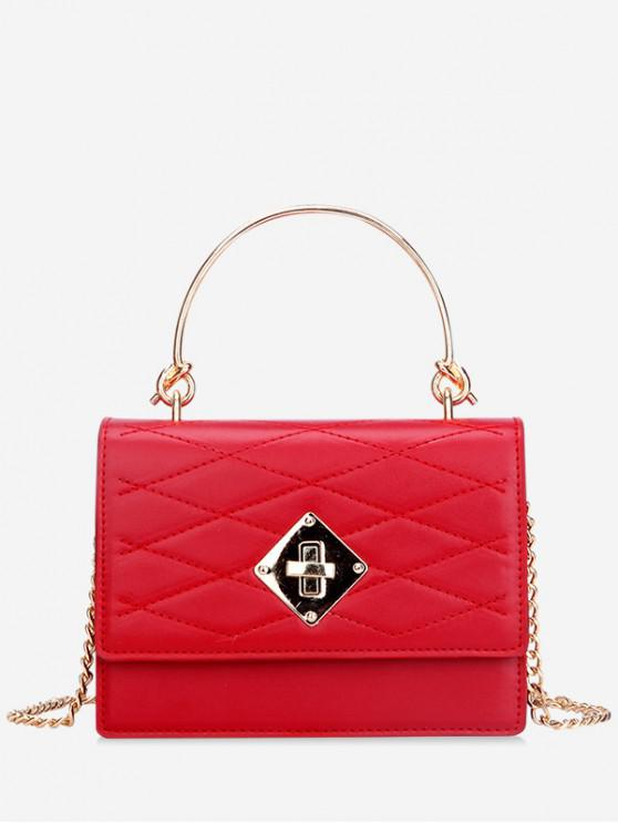 new Metal Handle Quilted Tote Bag - RED