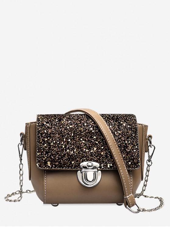 outfit Sequined Panel Chain Crossbody Bag - KHAKI