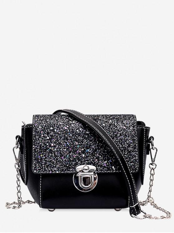 shop Sequined Panel Chain Crossbody Bag - BLACK
