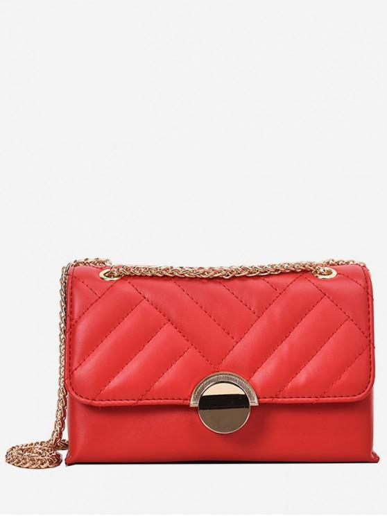 fancy Round Buckle Quilted Crossbody Bag - RED