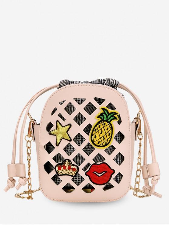 buy Applique Hollowed Drawstring Chain Crossbody Bag - PINK