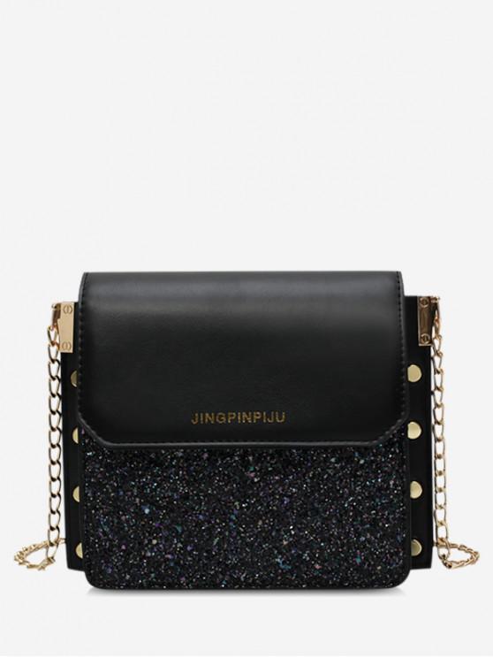 women's Glitter Flap Chain Crossbody Bag - BLACK