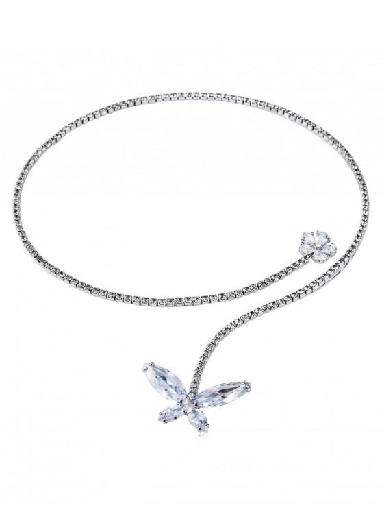 buy Rhinestone Butterfly and Flower Necklace - SILVER