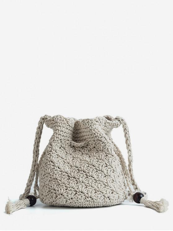 ladies Drawstring Design Crossbody Bag - BEIGE