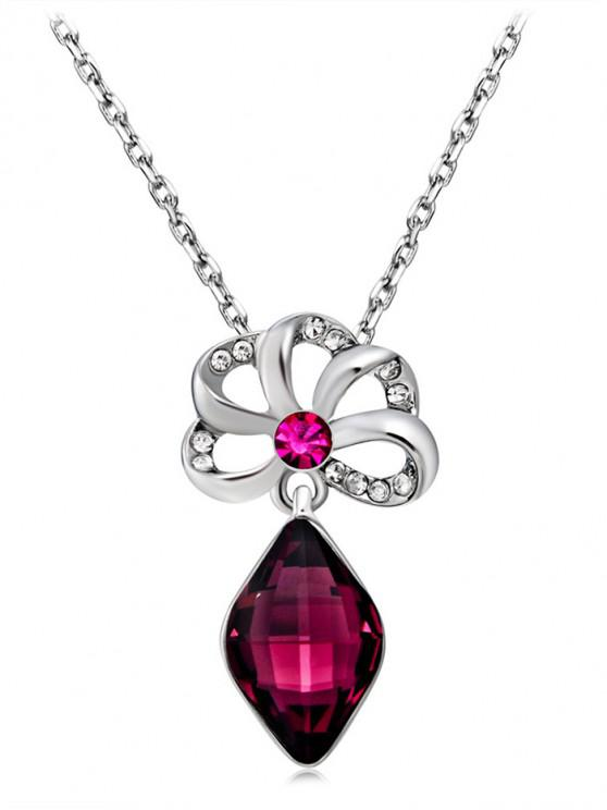 outfits Crystal Hollowed Zircon Pendant Necklace - SILVER