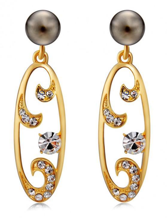 affordable Zircon Metal Hollowed Dangle Earrings - GOLD