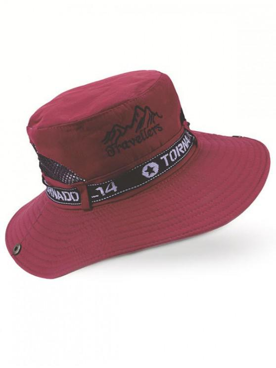best Letter Mesh Patchwork Bucket Hat - RED