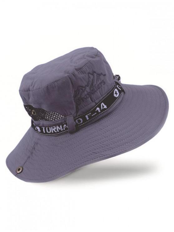 hot Letter Mesh Patchwork Bucket Hat - LIGHT BLUE