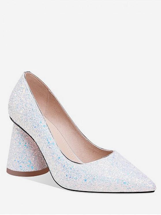 shops Sequins Design Chunky Heel Pumps - WHITE EU 36