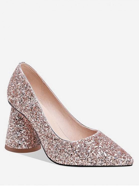 lady Sequins Design Chunky Heel Pumps - GOLD EU 40