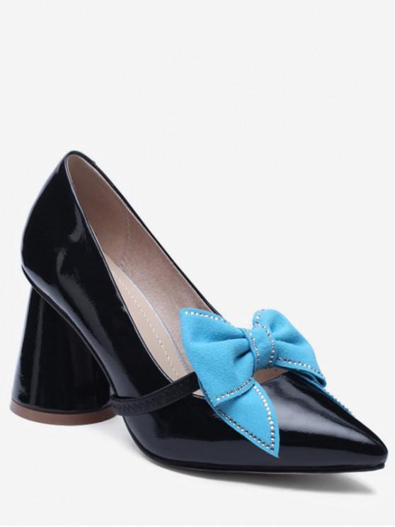 trendy Bowknot Design Chunky Heel Pumps - BLACK EU 38