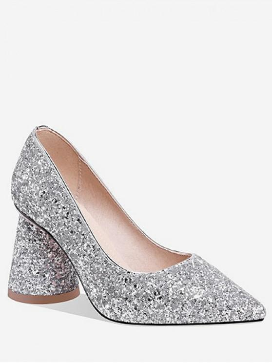 unique Sequins Design Chunky Heel Pumps - SILVER EU 36