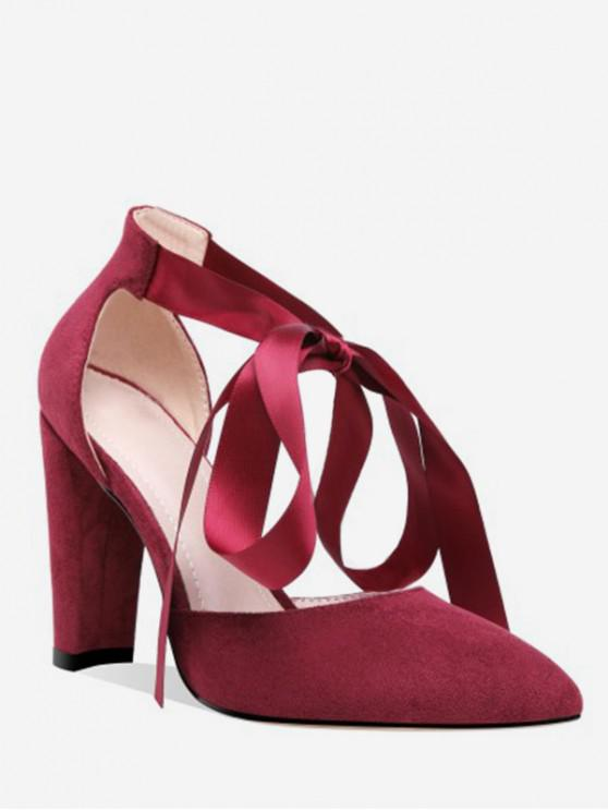 women's Lace-up Decoration Chunky Heel Pumps - RED WINE EU 39
