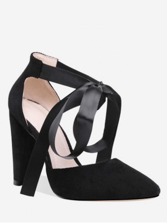 online Lace-up Decoration Chunky Heel Pumps - BLACK EU 38