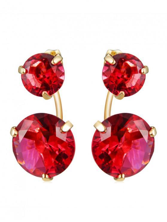 outfits Crystal Diamond Shape Dangle Earrings - RUBY RED