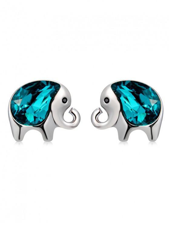 shop Crystal Elephant Pattern Stud Earrings - SILVER