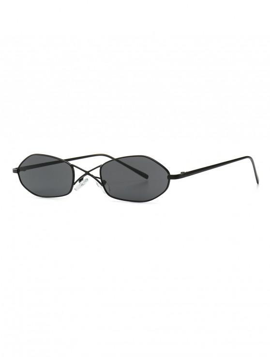 fancy Unique Irregular Shape Sunglasses - JET BLACK